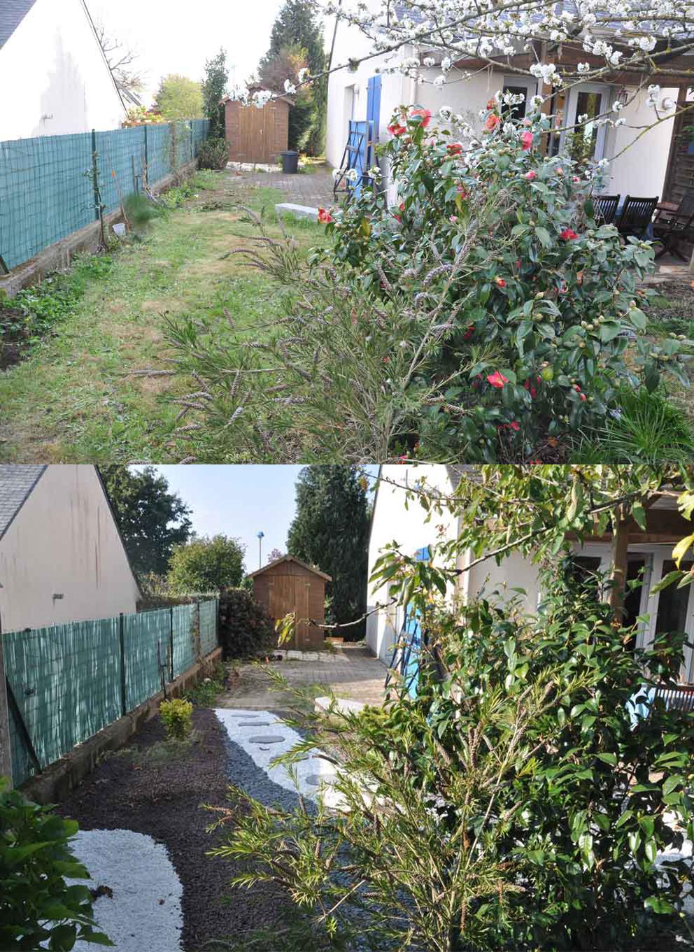 Jardin min ral avant apr s o 39 bio potager for Jardin mineral