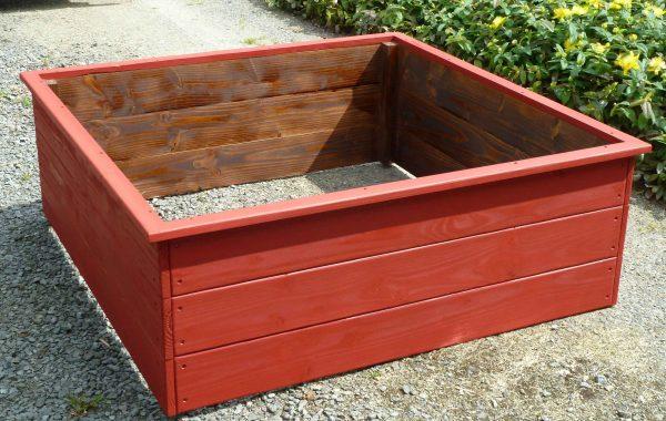 Carré potager 120 x 120 x 45 cm en bois de Douglas coloris rouge