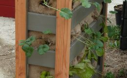 Potager vertical 90x90x30 coloris taupe et bois
