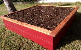 carré potager 120x120x30 rouge