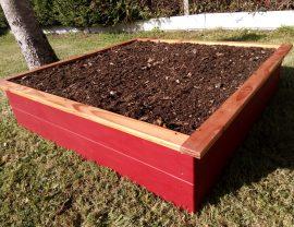 Carré potager 120 x 120 x 30 cm en bois de Douglas coloris rouge